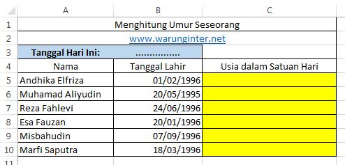 Tabel Menghitung Umur dalam format hari di microsoft excel
