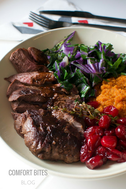 Venison Steak and Veggie Bowl with Orange Cranberry Sauce - Paleo AIP