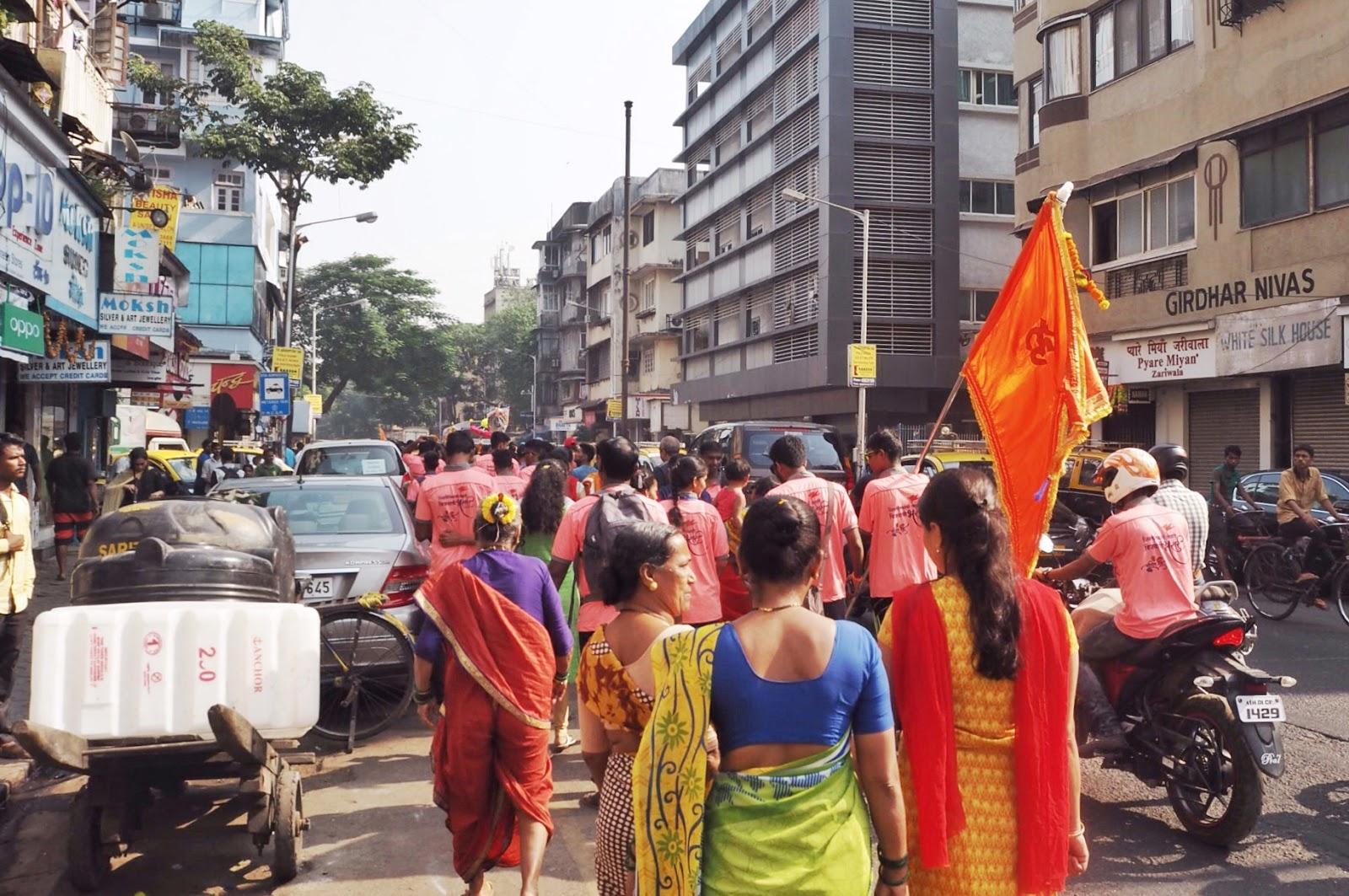 Procession, celebration, Mumbai, women in saris