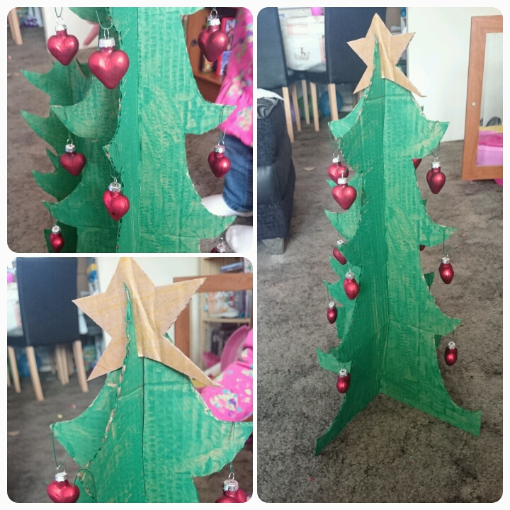 decorated cardboard christmas tree