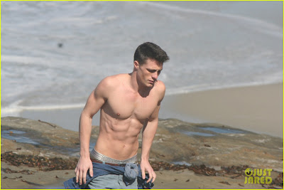 Colton Haynes Shirtless At The Beach