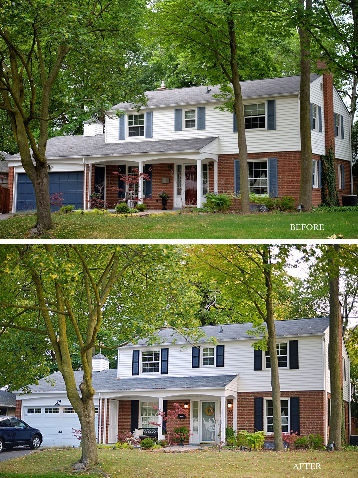before and after exterior refresh of a colonial style house, front porch decorating ideas for summer
