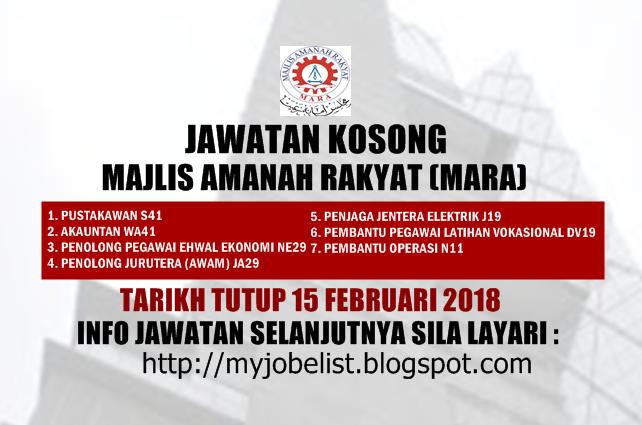 Jawatan Kosong Majlis Amanah Rakyat (MARA)