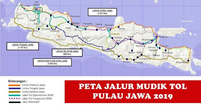image: Peta Jalur Mudik TOL Pulau Jawa 2019