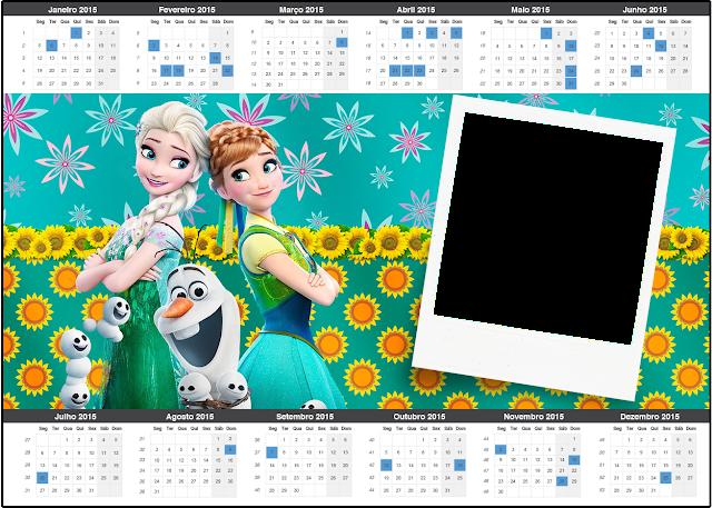 Calendario 2015 para imprimir gratis de Frozen Fiebre Congelada.