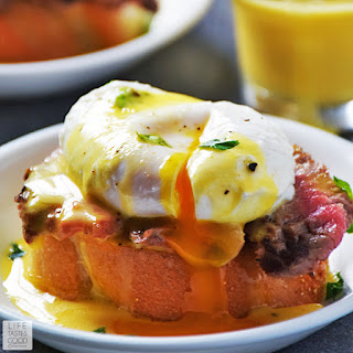 Steak and Eggs Benedict Crostini | by Life Tastes Good