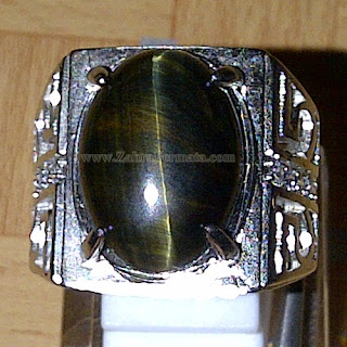 Cincin Batu Black Tiger Motif Cat Eye - ZP 819
