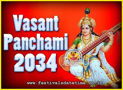 2034 Vasant Panchami Puja Date & Time, 2034 Vasant Panchami Calendar