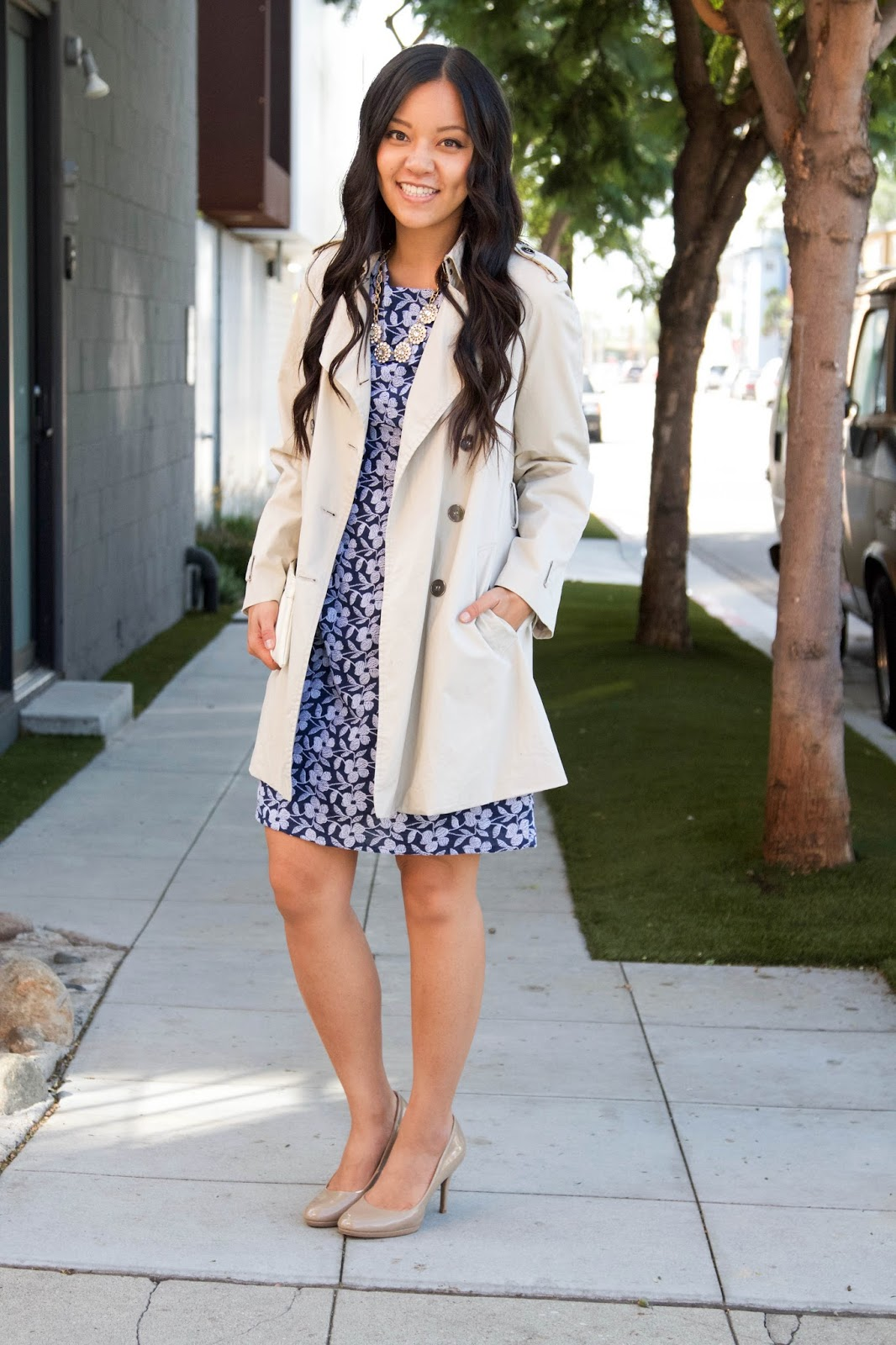 Blue Floral Dress + White Trench Coat + Nude Heels