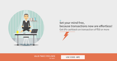 Recharge your mobile phones & pay utility bills online at FreeCharge & Get Additional 6% Cashback on your next FreeCharge Transactions of Rs.50 or more