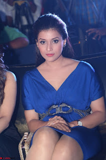 Mannara Chopra in Short Blue Dress at Rogue Movie Teaser Launch 1st March 2017 010.JPG