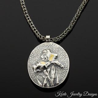 Iris Pendant on Handmade Chain