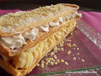 milhojas de nata y crema