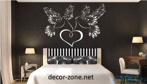vinyl wall stickers over the bed for master bedroom wall decoration