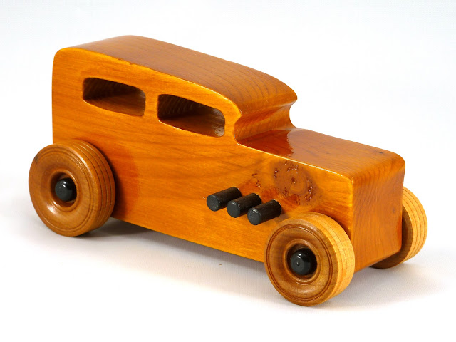 Right Front - Wooden Toy Car - Hot Rod Freaky Ford - 32 Sedan - Pine - Amber Shellac - Black Pipes - Black Hubs