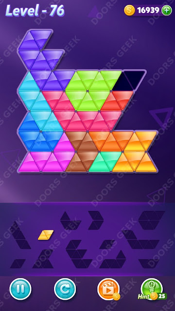 Block! Triangle Puzzle 12 Mania Level 76 Solution, Cheats, Walkthrough for Android, iPhone, iPad and iPod