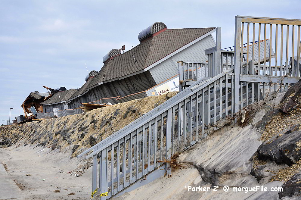 Beach houses knocked off their pilings by Hurricane Sandy - image from morgueFile