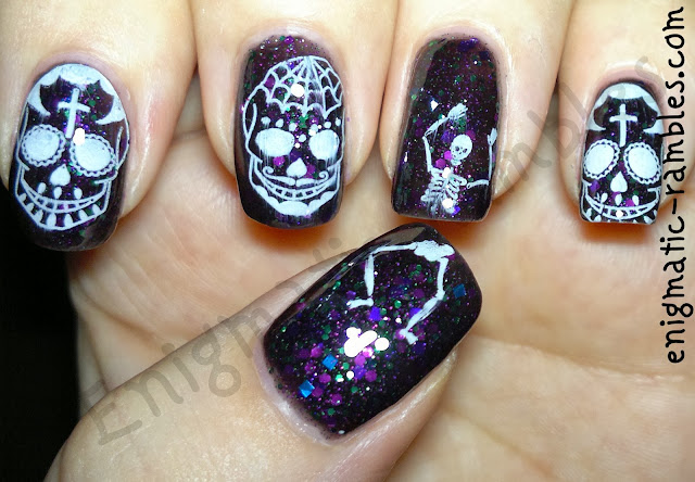 sugar-skull-skeleton-nails-nail-art-stamped-bundle-monster-413-hare-polish-midsummers-midnight