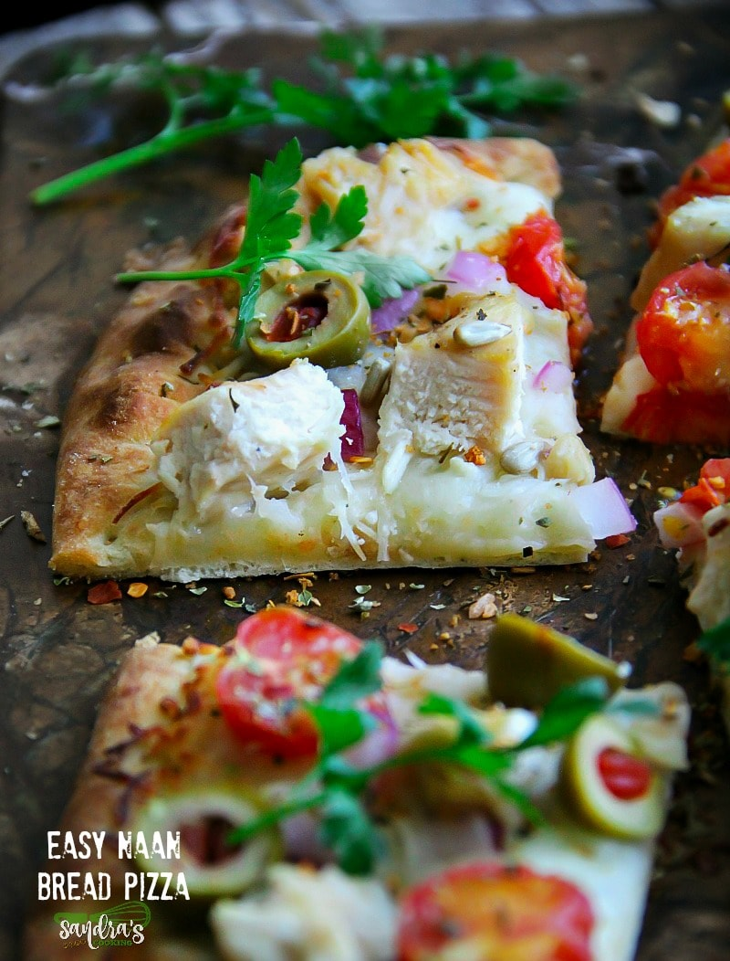 Easy Naan Bread Pizza #Recipe  This Naan Pizza comes together in 5 minutes and you can even prep everything ahead, plus it is versatile.