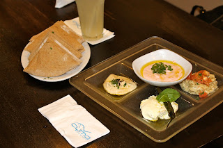 bread and dips at Cyma Restaurant