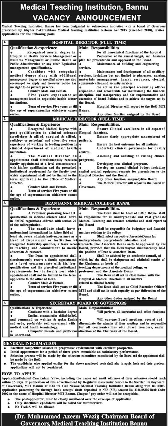 Jobs In Medical Teaching Institutions MTI Bannu April 2019