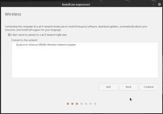 Linux Mint 19 Tara installation connect wi-fi network