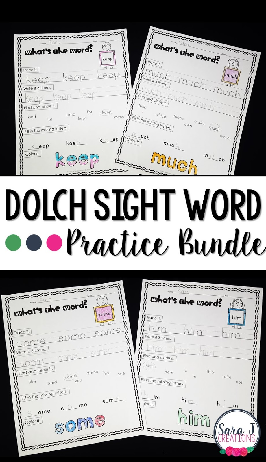Dolch sight word practice printables are an easy way to have students practice tracing, writing, identifying and coloring words.