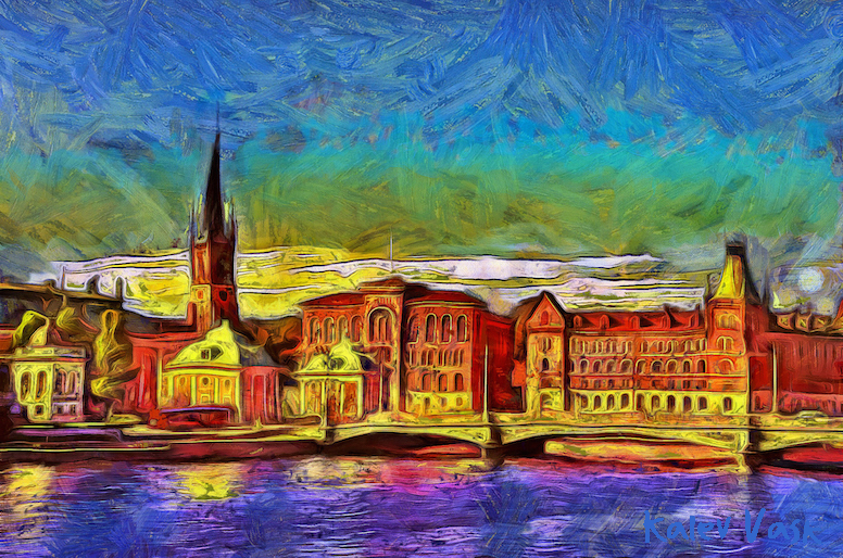 A view of Gamla Stan from Söder Mälarstrand, Stockholm, Sweden. Created with Dynamic Auto Painter from photo by Kalev Vask