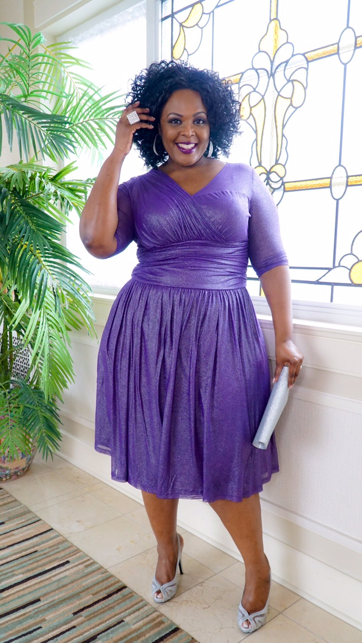 kiyonna purple dress, kiyonna plus size dress, plus size cocktail dress
