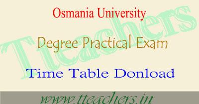 OU degree practical exam time table 2017