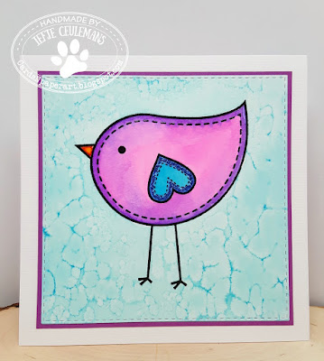Handmade shadowpainting greeting card with Papermania Bird stamp