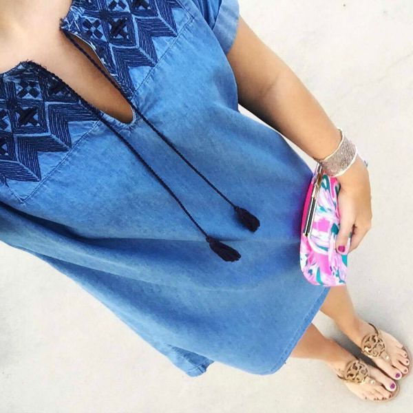 chambray dress, lilly pulitzer