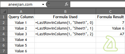 Example usage of excel function to get Last Row in a column