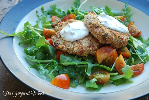 A lovely meatless meal in just 40 minutes! Crispy Cauliflower Cakes with Herb Sauce and Arugula Salad