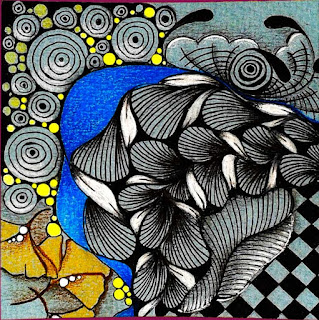 9er Mosaic FMT #178 Challenge with Patterns: African Artist, SeZ, Vigne, Knightsbridge, Meer, Ginkgo leaves, Tipple