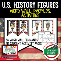American History Profiles & Activity Pages (History) Digital Google Option, Word Wall