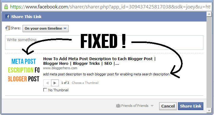 Fixed] Facebook Share Thumbnail Is not Showing on Blogger