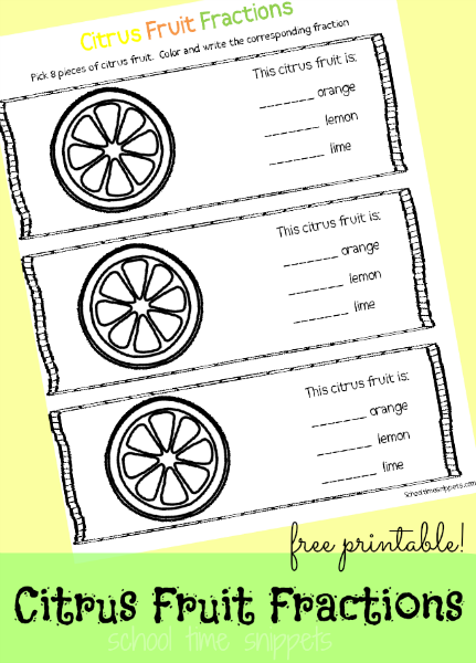 Citrus Fruit Fractions Printable for child just learning fractions or needs a little bit of reinforcement