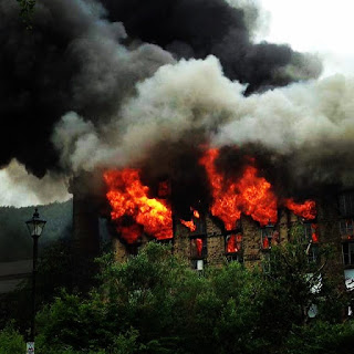fire, bailey mill, saddleworth, delph