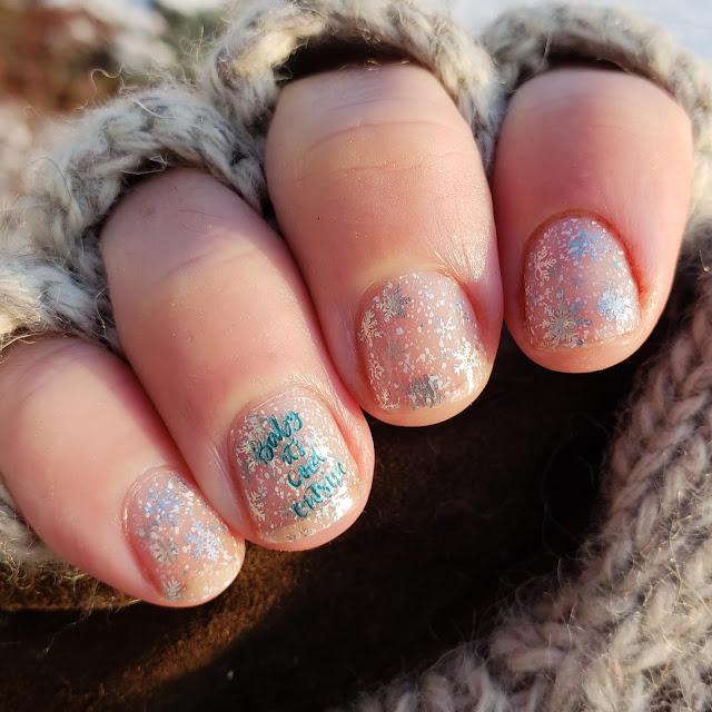 cheeky nail art, nail art, layered stamping, snow nail art,