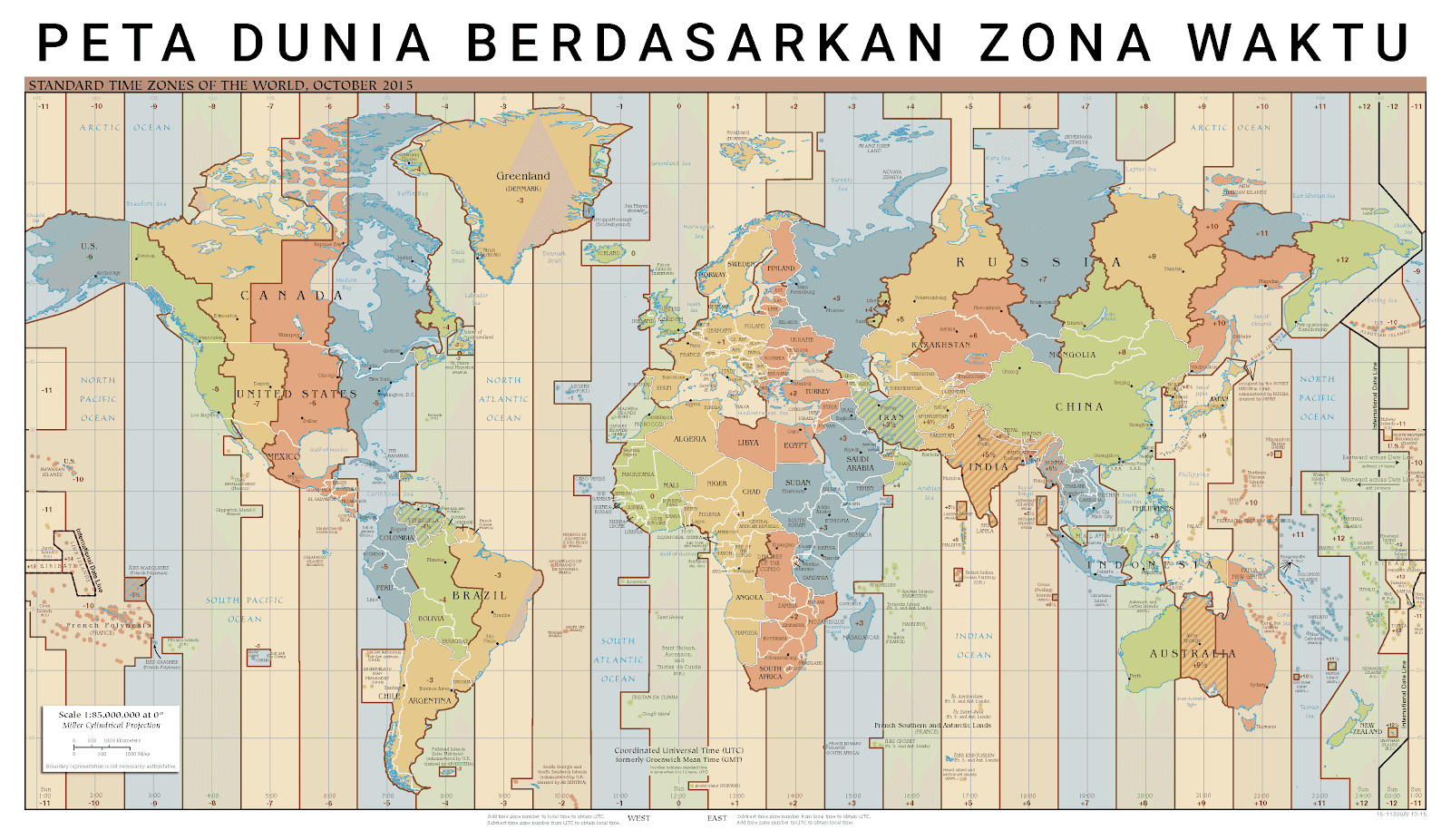Gambar peta dunia ukuran besar berdasarkan zona waktu
