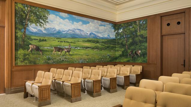 Alberta, Canada temple mural painted by Leon Parson