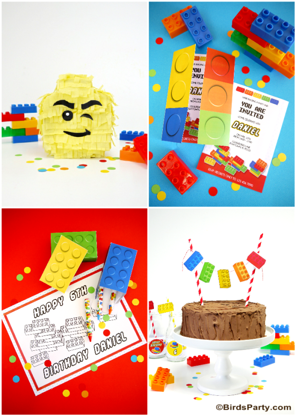 Lego Inspired Birthday Party Ideas and Printables - BirdsParty.com