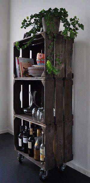 estante rodizio reutilizar caixotes de madeira