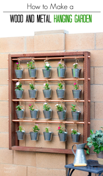 How to build an industrial wood and metal hanging garden for flowers or herbs and learn how to mount it to a concrete block wall