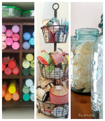 Struggle with organizing craft supplies? Do what I did and sort, organize and display it by color! Organizing by color adds a decorative element while keeping the function. To see how I've done this in my office space, please visit diy beautify!