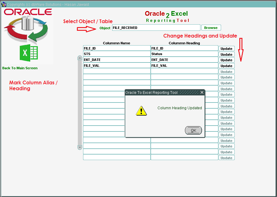 Hasan Jawaid: O2E - Oracle to Excel Reporting Tool