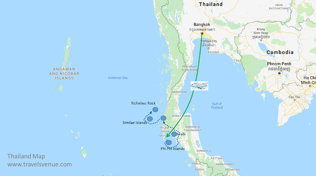 Route from Bangkok to Kho Phi Phi and Khao Lak