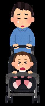 ベビーカーを押すお父さんの表情イラスト(泣いた顔)