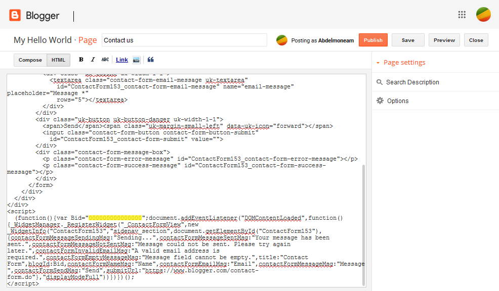 Adding Contact Form to Static Page in Blogger Code Image